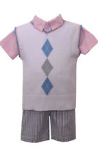 Boys Toddler Blue Striped Seersucker Shorts & Argyle Sweater Vest Set Easter NWT