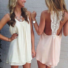 Women Fashion Summer Dress Sleeveless Solid Color Round Neck Chiffon Casual Tops