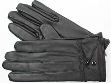 NEW BLACK LAMBSKIN LEATHER WOMEN'S WINTER DRIVING EVERYDAY GLOVES 156 S L XL