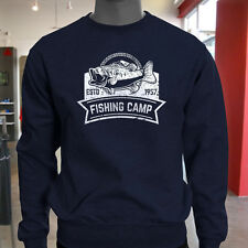 FISHING CAMP BASS FISH SPORT CATCH OCEAN FISHER Mens Navy Sweatshirt