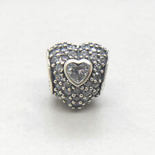 Authentic Genuine S925 Sterling Silver In My Heart Clear Pave Charm