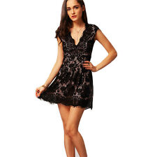 Women With Lace Sleeve V Neck Lace A Line Pleated Mini Dress