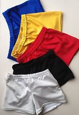 BOYS lycra Gymnastic Shorts NEW White, Black, Grey, Red, Yellow & Blue ALL SIZES