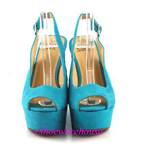 Teal Green Faux Suede Awesome Tall Sling Back Sexy Open Toe Wedge Sandals