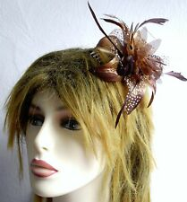 Fabric Flower Feather and Bead Fascinator Hair Clip Corsage Wedding Ball Races