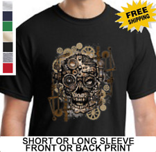 Skull Gears Steampunk Mechanical Cyborg Machine Gothic Biker Mens T Shirt
