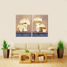2PC Canvas Painting Flower and Vase Home Decor Wall Art for Living Room Unframed