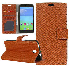 Brown Weave Flip Cover Stand Wallet Leather Case For Various Mobile phones