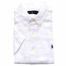 Polo Ralph Lauren Linen Button Down Short Sleeve Sport Shirt, WHITE