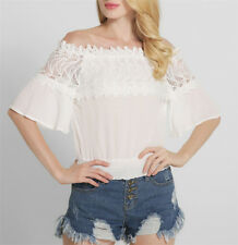Sexy Women's Tops Flare Sleeve Slim off Shoulder Casual Shirt Pullover Blouses