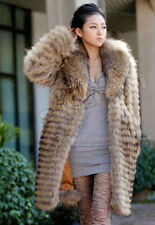 100% Real Genuine Raccoon Fur Collar Coat Jacket Outwear Clothing Full length