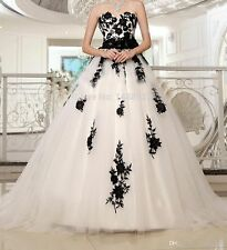 White And Black Wedding Dresses Appliques Sweetheart Bridal Gowns Custom Made
