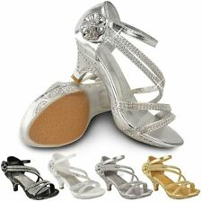New Girls Kids Low Heel Wedding Diamante Sandals Bridesmaid Party Shoes UK Size