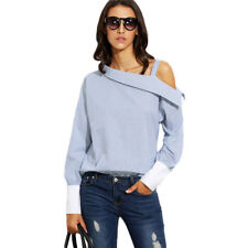 Womens Fashion Blue Striped Fold Over Asymmetric Shoulder Long Sleeve Blouse