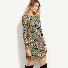 Womens Dress Multicolor Paisley Print Boat Neck Long Sleeve Tunic Dress