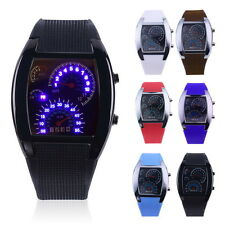 Mens Sports RPM Turbo Blue Flash LED Sports Car Meter Dial Watch Wristwatch BE
