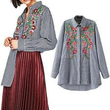 Women Long Sleeve Floral Emboidered Casual Shirt Plaid Blouse Loose Tops H4S8