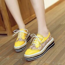 Women's Hollow Out Square Toe Lace Up High Platform Wedge Heels Flats Shoes Size