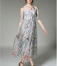 Elegant Womens Embroidery Floral Half Sleeve Tulle Ladies Prom Evening Dress