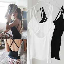Cool Summer Sexy Hollow Crossed Padded Vest Bandage Tank Top Blouse Beach Shirts