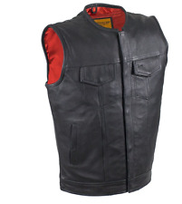 Mens Concealed Carry Naked Cowhide Biker Club Vest with NO COLLAR  RED LINER CCW