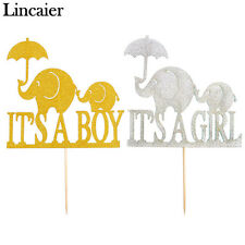 Elephant Its a Boy Girl Baby Shower Cake Toppers Babyshower Party Decorations