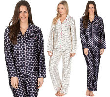 Womans Silky Satin Print Button Shirt Pyjamas Loungewear Nightwear Pjs Gift Set