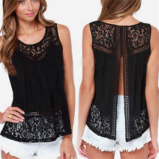 Fashion Womens Summer Lace Vest Top Sleeveless Blouses Casual Tank Tops T-Shirts