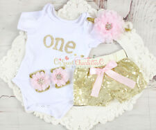 4PCS Baby Girl First Birthday Onesie & Sequin Shorts Outfit Girl Birthday Outfit