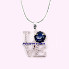 NHL Toronto Maple Leafs 925 Sterling Silver Team Love Necklace W/Rhinestones
