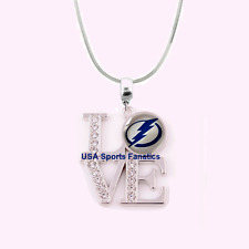 NHL Tampa Bay Lightning 925 Sterling Silver Team Love Necklace With Rhinestones