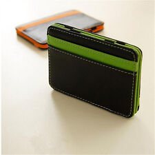 Magic Wallet Money Clip Card ID Holder Slim Light Flip Leather - Black & Green