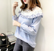 New Korean Women Spring Autumn Quality Casual Striped Stitching Lace Shirt Tops