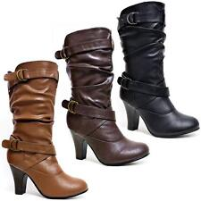 Ladies Womens Faux Leather Mid Calf High Heels Fashion Biker Riding Boots Shoes