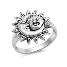 Stars Moon Ring Band 925 Sterling Silver Moon Star Ring