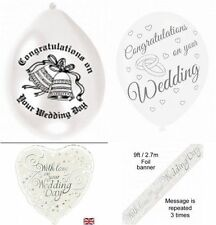 Congratulations/ With Love on Your Wedding Day Foil Banner & Balloons Assorted