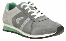 Clarks SUPER RUN Grey Older Boys Leather Lace Trainers Shoes 13 -3 FG Fit