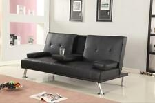 Italian Style Luxury Sofa Bed with Drink Cup Holder  Faux Leather 4 Colours