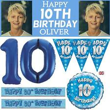 Blue Age 10 Boys Happy 10th Birthday Banner Balloons Decorations