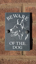 "BEWARE OF THE DOG Doberman Plaque NATURAL SLATE 6""X4"" House, Door, Wall SIGN"