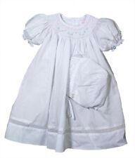 Petit Ami Girls Dress White Bishop Smocked Dress and Bonnet NWT 9m
