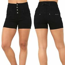 Ladies Womens Denim Front 4 Button Shorts Zip Back Hip Bow Pocket Jeans Hotpants