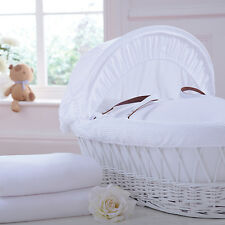 Izziwotnot Jersey Fitted Moses Basket Sheets (2 Pack) White, Cream, Pink, Blue..