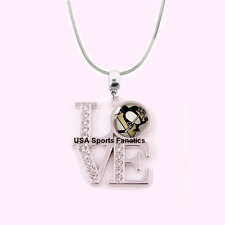 NHL Pittsburgh Penguins 925 Sterling Silver Team Love Necklace W/Rhinestones