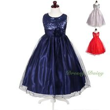 Sequined Wedding Flower Girl Dresses Party Dress Graduation Gown Size 4-14 FG375