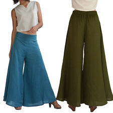 Blue Summer Beach Long Pants High Waist Flare Loose Wide Leg Palazzo Trousers XL