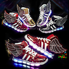 Xmas Kid Boys Girls 7 LED Light Up Wings Shoes Luminous Casual Sneakers Trainers