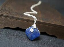 Wrapped Lapis Lazuli Necklace, Sterling Silver Square Lapis Pendant