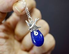 Sterling Silver Fat Teardrop Blue Sapphire Necklace Silver Swallow Bird Blue Gem