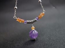 Amethyst Necklace, Chakra Crystal Healing Yoga Amethyst Bar 925 silver